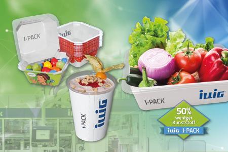 Umweltschonende Lösungen von ILLIG – über 50% weniger Kunststoff mit I-PACK®.