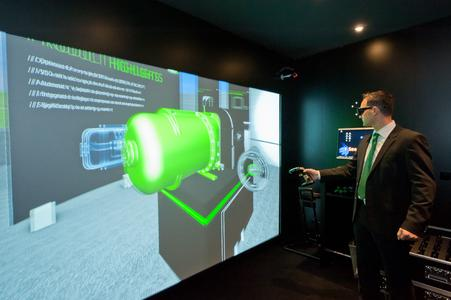 A highlight at the BITZER trade fair stand: the 3-D presentation of compressors