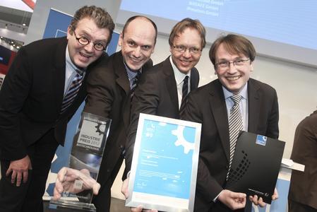 INDUSTRIEPREIS 2012 - Sieger Biotechnologie, Genomatix Software GmbH, Klaus J. W. May, Dr. Martin Seifert, Dr. Korbinian Grote, Dr. Matthias Scherf (v.l.n.r.)