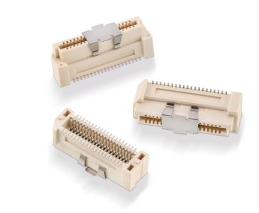 Die neuen Board-to-Board-Lösungen WR-BTB sind im Raster 0,8 mm und 1,0 mm mit speziellem Design für hohe mechanische Stabilität in bis zu sechs Bauhöhen innerhalb der Polzahlen erhältlich / Bildquelle: Würth Elektronik eiSos