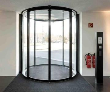 The new automatic Slimdrive SC WK2 semi-circular/circular sliding door system Slimdrive SC WK2. Installation situation: administrative building of SGL Carbon GmbH in Meitingen (Bavaria)