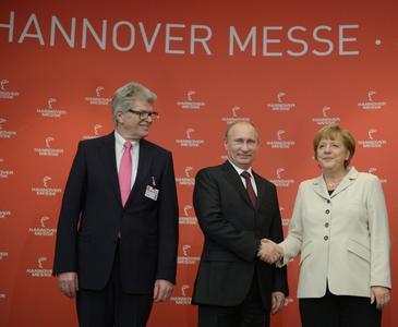 Friedhelm Loh, Dr. Angela Merkel und Wladimir Putin eröffnen die Hannover Messe 2013, Quelle: Deutsche Messe