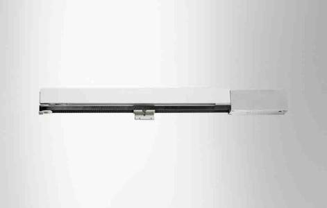 Der Low-Energy Schiebetürantrieb Perlan AUT NT von GEZE; Detail Klipsblende für das Laufrohr mit Rollenwagen