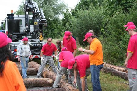 HSE Mitarbeiter passen die Baumstämme an