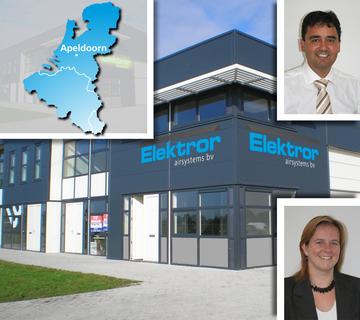 Das Vertriebsteam Benelux (oben: Geschäftsführer Robin Banerji, unten: Vertriebsmitarbeiterin Marloes Broshuis) und das neu angemietete Firmengebäude in Apeldoorn (NL)