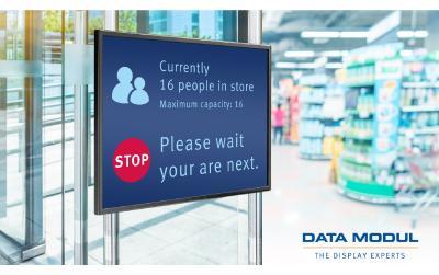 """Hygiene- und Schutzmaßnahmen: DATA MODUL präsentiert 42""""Panel PC-Lösung für erfolgreiches Kunden- und Besuchermanagement"""