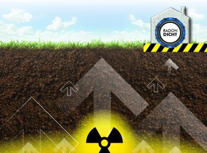Radon ist ein natürliches Zerfallsprodukt, das in uranhaltigem Gestein im Boden entsteht