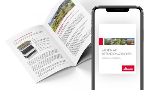 Das neue Merkblatt Retentionsdächer kann kostenlos in der Infothek auf derdichtebau.de heruntergeladen werden