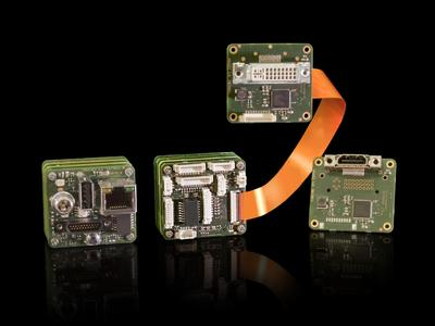 For the OEM variants of the intelligent cameras VRmagic now offers a back end with Picoblade™ miniature connectors for all supported interfaces. A PCB with DVI or HDMI output can additionally be connected to the camera.