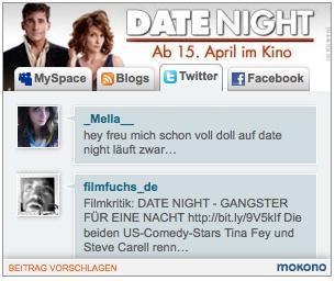 """Das Social Media Ad während der Kampagne zum Kinofilm """"Date Night"""""""