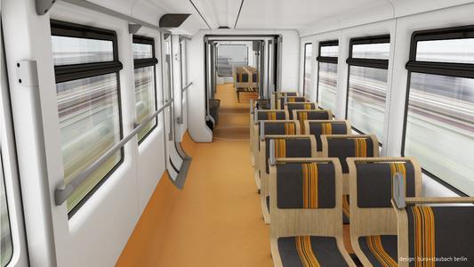 Der Innenraum der neuen Schwebebahnzüge, Farbvariante gelb