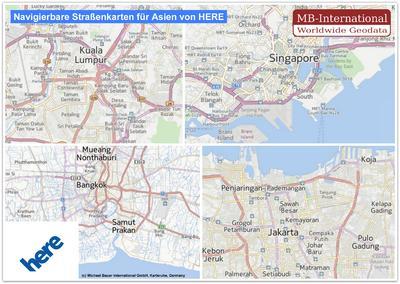 Navigierbare Straßenkarten für Asien von HERE