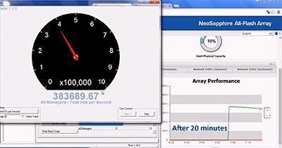 Benchmark-Demonstration des All-Flash-Arrays NeoSapphire 3706-ES1 von AccelStor.