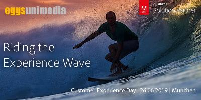 "Unter dem Motto ""Riding the Experience Wave"" richtet eggs unimedia am 26. Juli 2019 den diesjährigen Adobe Customer Experience Day aus"
