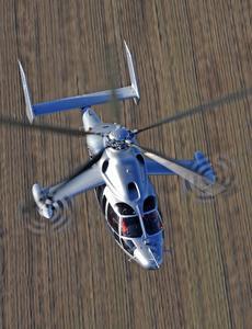 Eurocopters Hybridhubschrauber X3 übertrifft sein angestrebtes Geschwindigkeitsziel: 232 Knoten (430 km/h) bei stabilem Horizontalflug