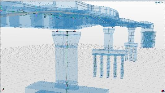 In Allplan Bridge, the static model is automatically derived from the geometric model. The engineer retains full control over which components contribute to the load-bearing behavior and which only represent loads. Copyright: ALLPLAN Infrastructure