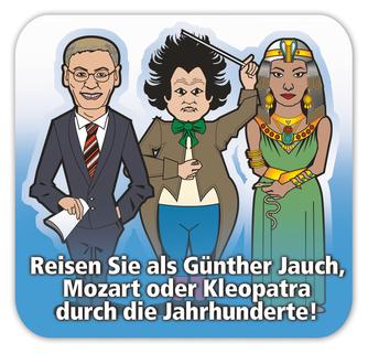 Gehen Sie auf Zeitreise mit Kleopatra, Mozart oder Günther Jauch und beantworten Sie spannende Fragen zur Zeitgeschichte. About Time ist für 39,95 EUR im Handel erhältlich.