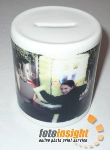 Money box with photograph