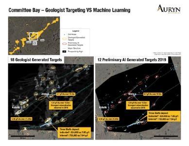 Abbildung 1 zeigt einen Vergleich der vom Geologen und dem KI Lernen abgeleiteten Ziele aus dem zentralen Teil des Committee Bay Goldgürtels. Beachten Sie, dass es mehrere Ziele gibt, die sich überschneiden, was dem technischen Team von Auryn das Vertrauen in unsere bisherigen Targeting-Aktivitäten und die neu abgeleiteten KI Lerntechnologie gibt