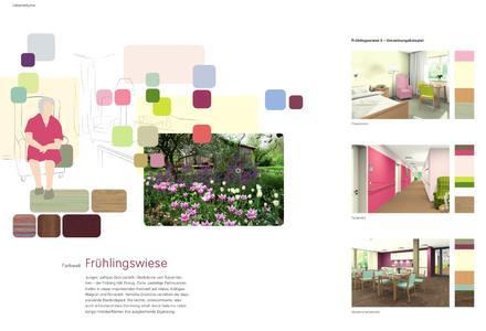 """Dargestellte Naturstimmungen wirken auf Senioren vertraut, werden als harmonisch empfunden und wecken positive Assoziationen. Hier ein Beispiel, wie die Farbwelt """"Frühlingswiese"""" umgesetzt werden kann. Entwurf/Visualisierung: Caparol FarbDesignStudio"""