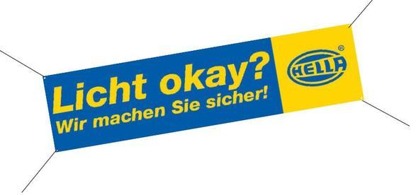 """""""Licht okay?"""" - mit diesem Banner werben Werkstätten für die diesjährige Licht-Test-Aktion"""