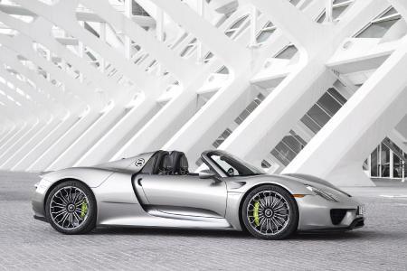 Seitenansicht des Porsche Spyder 918. / Quelle: Porsche