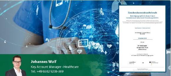 Zertifikat IT-HAUS Johannes Wolf: Bestätigung zur Eignung für die Beratung und Validierung von Projekten im Zusammenhang mit dem Krankenhauszukunftsfond im Rahmen des KHZG