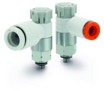 Die Drosselrückschlagventile der Serie AS-X790 mit M3-Gewinde und Edelstahlanschluss sind bestens für Steuerung der Geschwindigkeit von Kurzhub-Zylindern bei eingeschränkten Platz- oder Gewichtsverhältnissen geeignet