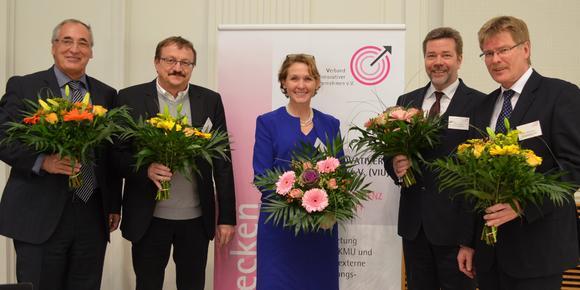 Der neue VIU-Bundesvorstand (von links):  Hans-Joachim Münch, Dr. Bernd Grünler, Gabriele Seitz, Bernd Rhiemeier, Dr. Ralf-Uwe Bauer (Foto: VIU)