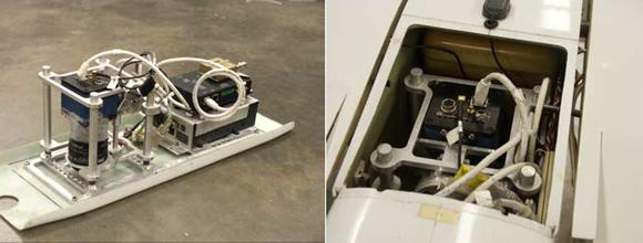 Prosilica Camera GE4900C and RaptorEye (left) – Prosilica GE4900C in the payload area of the Arcturus UAV (right)