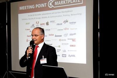 Bernd Blümmel, Geschaftsführer der Inmac GmbH, eröffnete den siebten Meetingpoint Marktplatz des IT-Dienstleisters