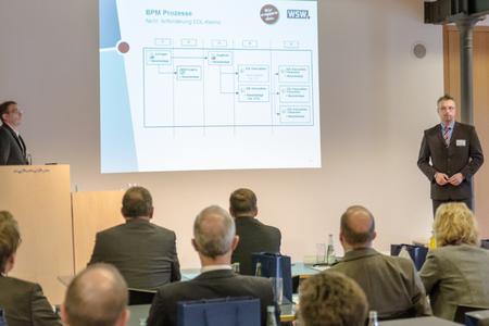 Angebotserstellung für RLM-Kunden in nur 20 Minuten dank CURSOR-BPM: Thomas Wahle und Thomas Kapitza von den Wuppertaler Stadtwerken präsentierten CURSOR-BPM im Praxiseinsatz. Foto: S. Barthel