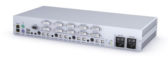 KVM Switch DL-MUX4-MC2 - Suitable for four computers and two video channels, Tempest-certified for military use. Network connection, web interface and monitoring offer a variety of features for mission-critical applications