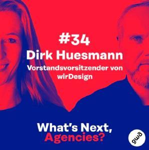 Was sind die zentralen Fragen zur Zukunft der Agenturen? In der neuen Folge des Podcasts  #WhatsNextAgencies erzählt Dirk Huesmann ausführlich über den Generationenwechsel bei der inhabergeführten 80-köpfigen Designagentur, vom neuen Organisationsmodell und warum ein ausgeprägtes Harmoniebedürfnis dabei eher im Weg steht.