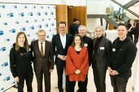 Von links: Monja Mühling von Smartlane, IHK-Präsident Burkhard Landers, NRW-Verkehrsminister Hendrik Wüst, Moderatorin Julia Miosga, Prof. Michael ten Hompel vom Fraunhofer IML, Dr. Arnd Köfler von Thyssenkrupp Steel Europe und Max Stratmann von Scanbot