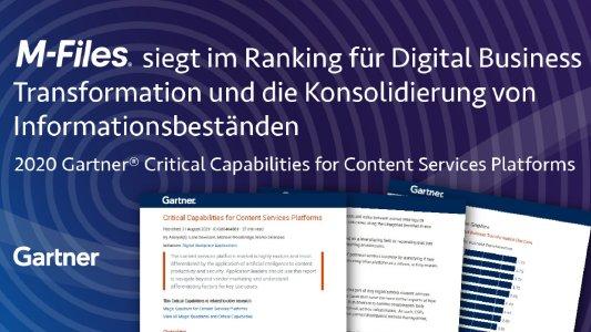Aktualisierter Gartner-Report mit höchsten Punktzahlen für M-Files bei kritischen Funktionen von Content-Services-Plattformen