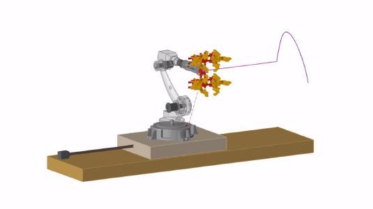 Dynamische Simulation eines Fertigungsroboters einschließlich Endeffektor (Greifwerkzeug) in der Produktionsstraße in Altair Inspire Motion
