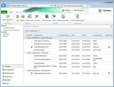 InLoox Web App Projektliste