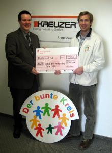 """KREUZER spendet 1.000 Euro für den Verein """"Bunter Kreis"""""""