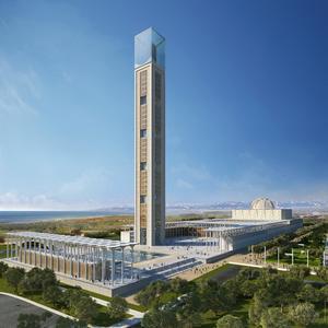 Impression of the completed appearance of the Djamaâ el Djazaïr mosque in Algiers. (Visualisation: KSP Jürgen Engel Architekten)