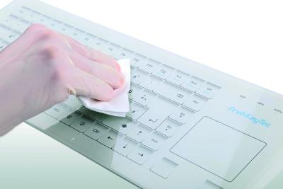 Glass and silicone keyboards ensure easy hygiene at the workplace through easy cleaning