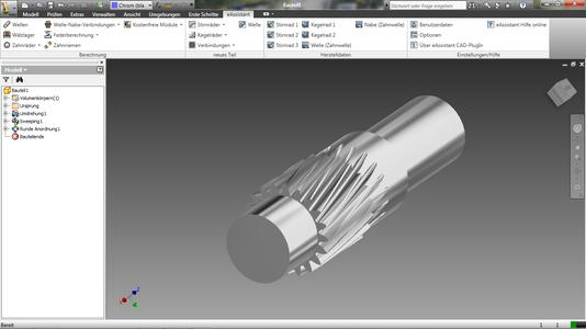Helical pinion shaft including tool run-out, generated by using eAssistant CAD plugin for Autodesk Inventor