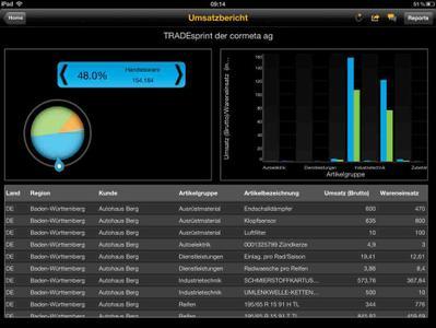 So übersichtlich kann iReporting sein: Der Screenshot zeigt einen aktuellen Umsatzbericht nach Artikelgruppen aus Tradesprint. Der SAP Business Object Explorer holt die Daten aus dem ERP-System, in diesem Fall aus Tradesprint, und bringt die Auswertung auf das iPad
