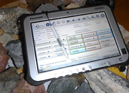 Figure: advangeo® Field Cap on a Panasonic tablet, customized for the Geological Survey of Namibia