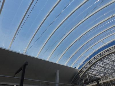 Close up view of the new ETFE foil roof