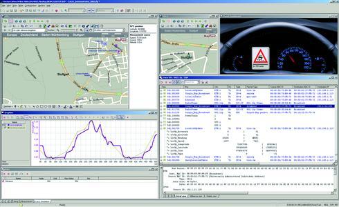 CANoe.IP simuliert ein Verkehrsszenario am Beispiel einer empfangenen Schleuderwarnung