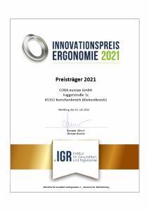 COBA Europe bekommt Innovationspreis Ergonomie 2021