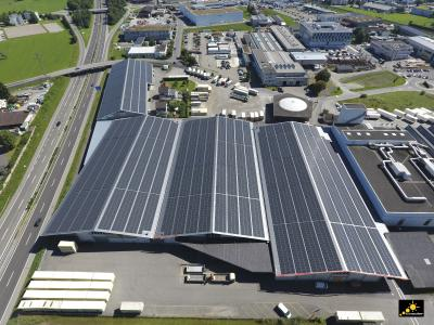 Rieser + Vetter logistics distribution center with 2.34 MWp rooftop solar PV system