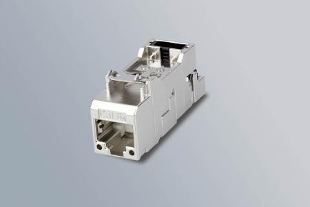 Speziell für Anwendungen mit erhöhtem Publikumsverkehr: Das AMJ-S DD Modul Cat.6A löst die Verbindung zum RJ45 Anschlusskabel bei ungewollten Zugkräften ohne Rasthebel-Betätigung