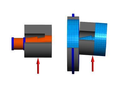 Verformungen eines Flex-Pins als Balkenmodell und als 3D-elastisches Modell